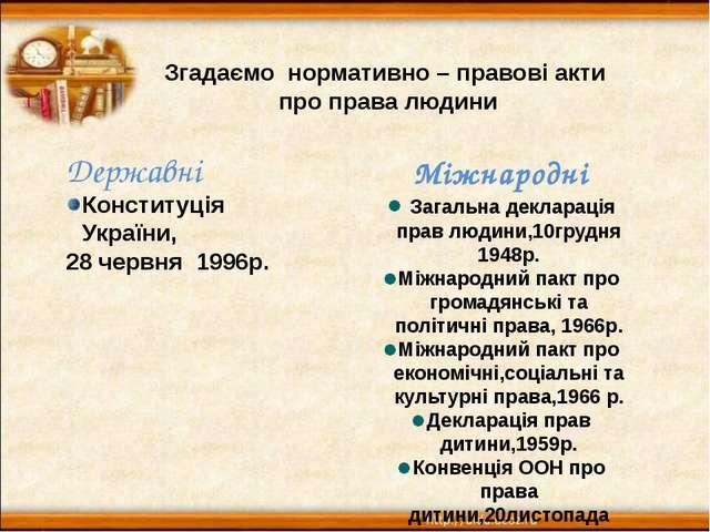 Згадаємо нормативно – правові акти про права людини Державні Конституція Укра...