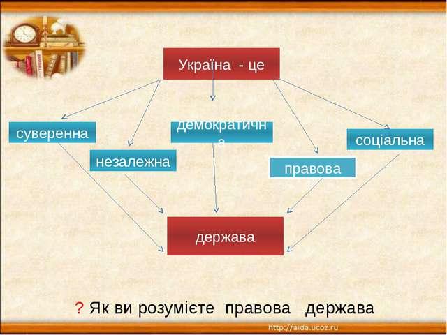 Україна - це суверенна незалежна правова демократична соціальна держава ? Як...