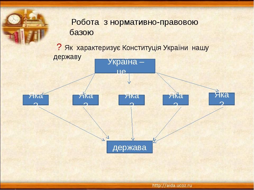 Робота з нормативно-правовою базою ? Як характеризує Конституція України наш...
