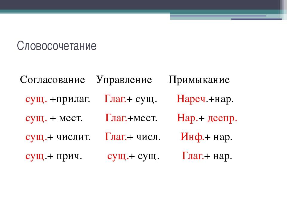 Словосочетание Согласование Управление Примыкание сущ. +прилаг. Глаг.+ сущ. Н...