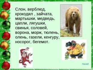 Слон, верблюд, крокодил , зайчата, мартышки, медведь, цапли, лягушки, свинья,