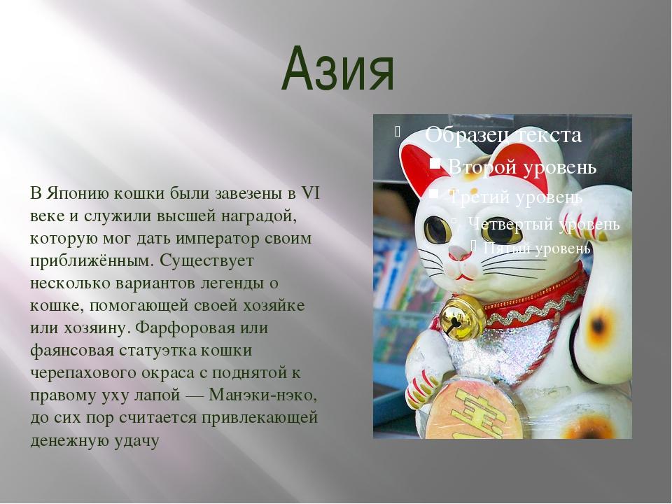 Азия В Японию кошки были завезены в VI веке и служили высшей наградой, котору...