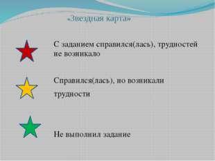 «Звездная карта» С заданием справился(лась), трудностей не возникало Справилс