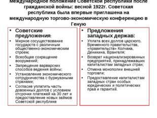 Международное положение Советской республики после гражданской войны: весной