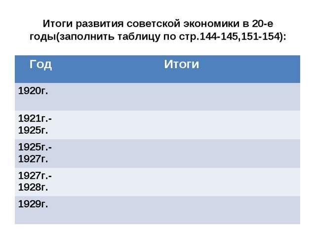 Итоги развития советской экономики в 20-е годы(заполнить таблицу по стр.144-1...