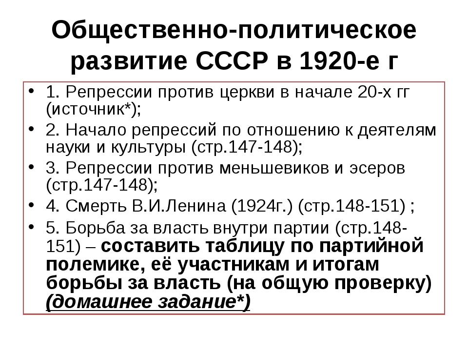 Общественно-политическое развитие СССР в 1920-е г 1. Репрессии против церкви...