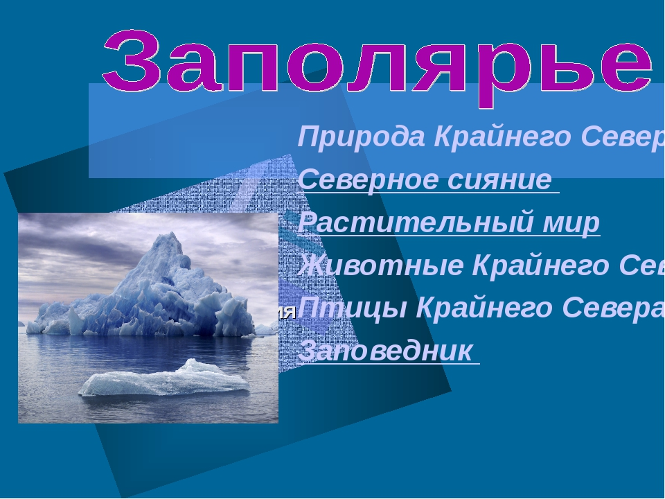 Природа Крайнего Севера Северное сияние Растительный мир Животные Крайнего Се...