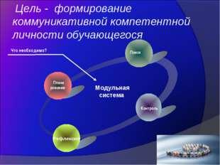 Цель - формирование коммуникативной компетентной личности обучающегося Плани