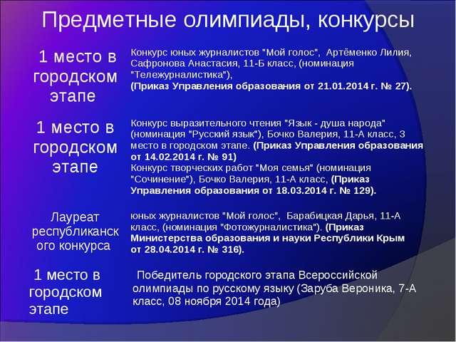 Предметные олимпиады, конкурсы 1 место в городском этапе Конкурс юных журнал...