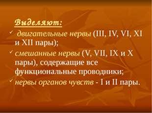 Выделяют: двигательные нервы (III, IV, VI, XI и XII пары); смешанные нервы (