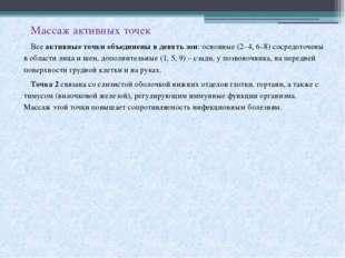 Массаж активных точек Всеактивные точки объединены в девять зон: основные (2
