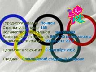 Город-организатор Лондон Страны-участницы 165 Количество спортсменов около