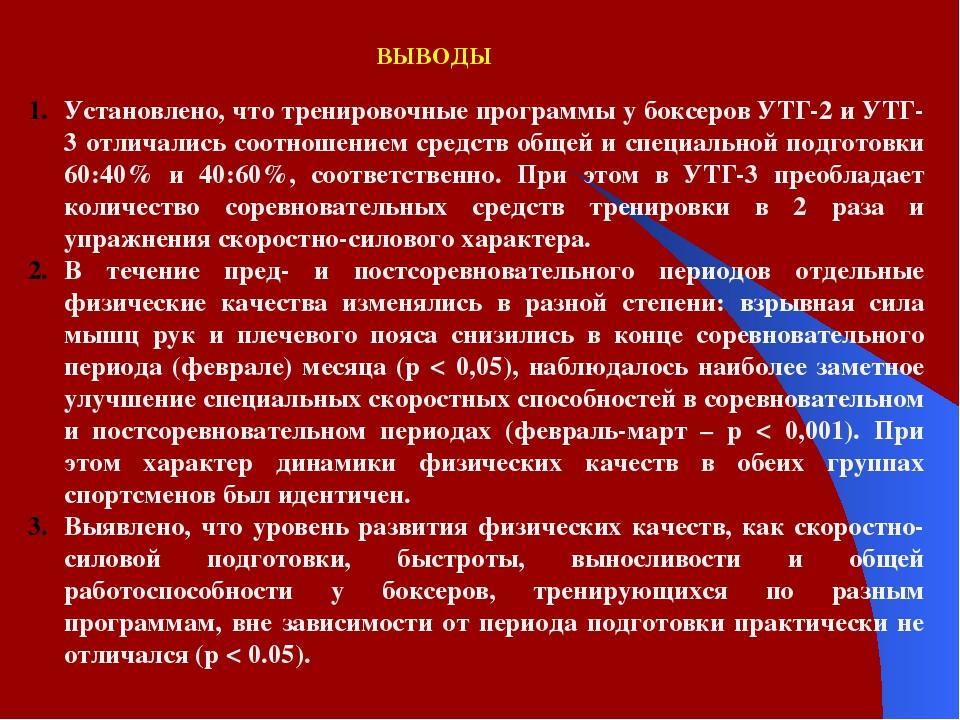 ВЫВОДЫ Установлено, что тренировочные программы у боксеров УТГ-2 и УТГ-3 отли...