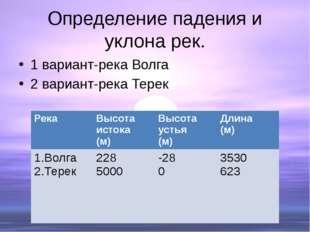 Определение падения и уклона рек. 1 вариант-река Волга 2 вариант-река Терек Р