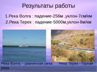 Результаты работы 1.Река Волга : падение-256м ,уклон-7см/км 2.Река Терек : па