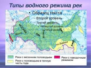 Типы водного режима рек