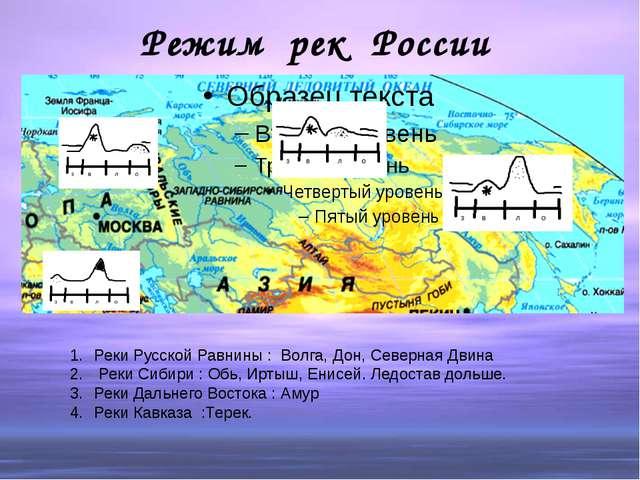 Режим рек России Реки Русской Равнины : Волга, Дон, Северная Двина Реки Сибир...