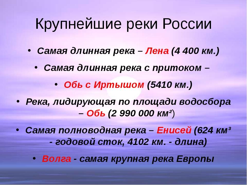Крупнейшие реки России Самая длинная река – Лена (4 400 км.) Самая длинная ре...