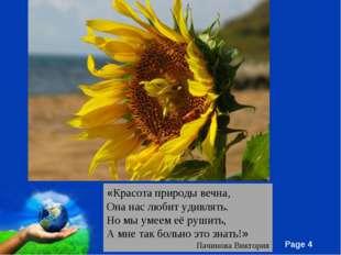 «Красота природы вечна, Она нас любит удивлять. Но мы умеем её рушить, А мне