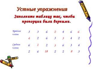 Устные упражнения Заполните таблицу так, чтобы пропорции были верными. 4 1 18