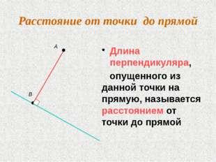 Расстояние от точки до прямой Длина перпендикуляра, опущенного из данной точк