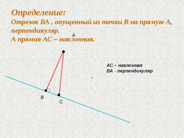 Определение: Отрезок ВА , опущенный из точки В на прямую А, перпендикуляр. А...