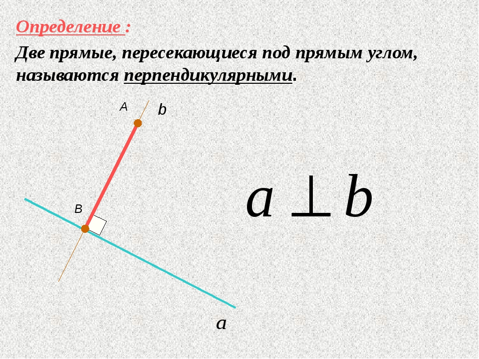 Определение : Две прямые, пересекающиеся под прямым углом, называются перпенд...