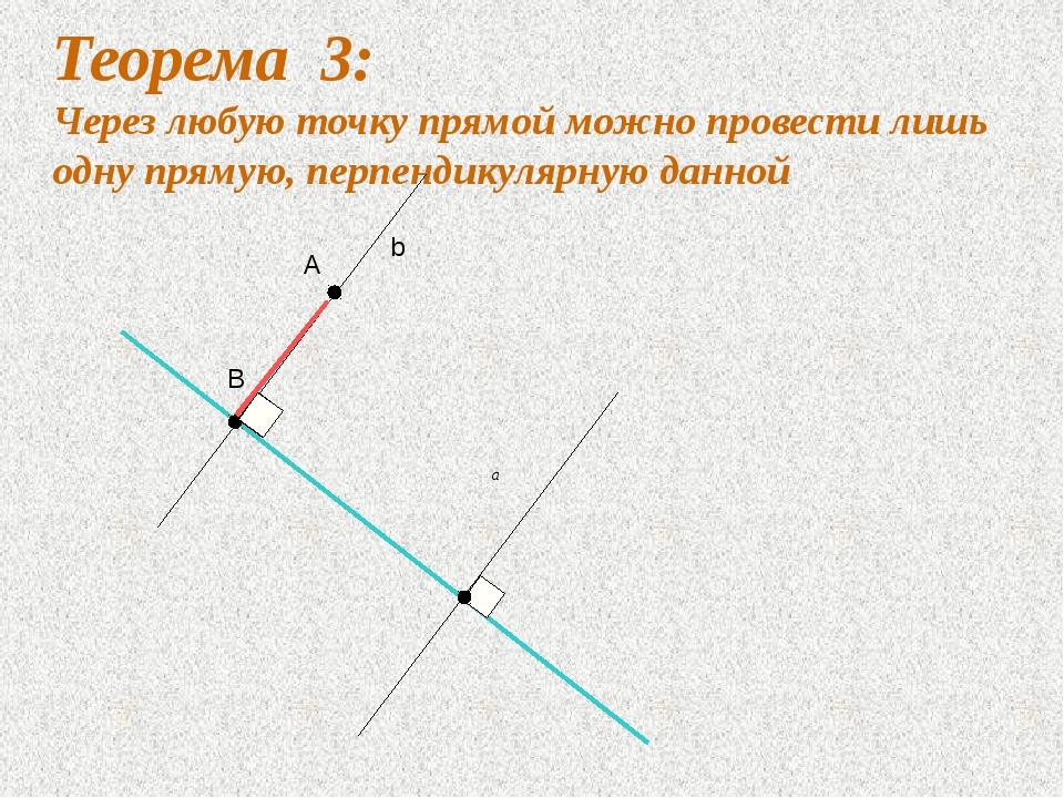 Теорема 3: Через любую точку прямой можно провести лишь одну прямую, перпенди...