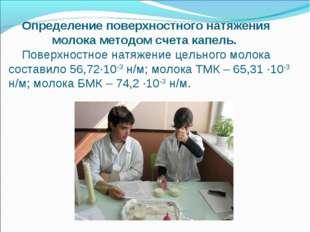 Определение поверхностного натяжения молока методом счета капель. Поверхност