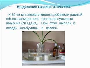 Выделение казеина из молока. К 50-ти мл свежего молока добавили равный объем