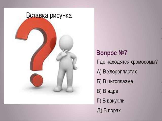 Вопрос №7 Где находятся хромосомы? А) В хлоропластах Б) В цитоплазме В) В ядр...