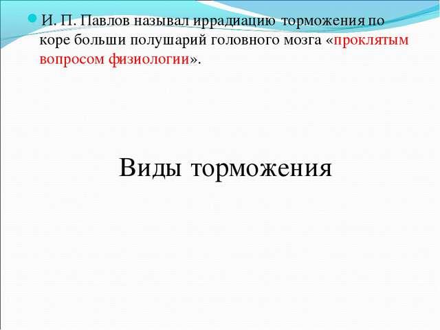 И. П. Павлов называл иррадиацию торможения по коре больши полушарий головного...