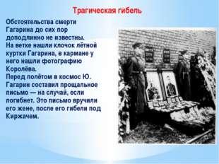 Обстоятельства смерти Гагарина до сих пор доподлинно не известны. На ветке н