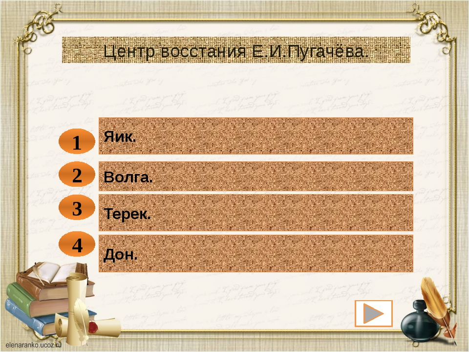 Яик. 1 Центр восстания Е.И.Пугачёва. Волга Урал Дон. 2 3 4 Волга. Терек.