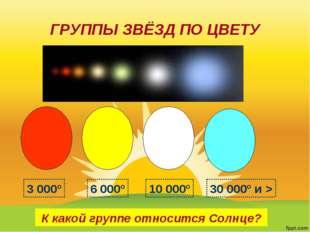 ГРУППЫ ЗВЁЗД ПО ЦВЕТУ К какой группе относится Солнце? 3 000º 6 000º 10 000º