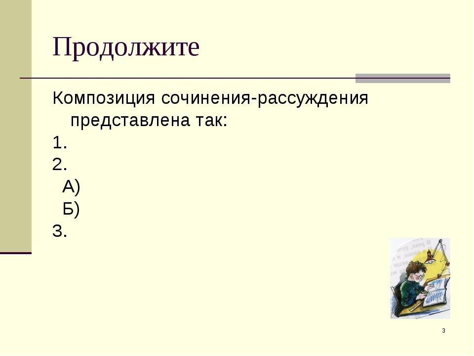 Продолжите Композиция сочинения-рассуждения представлена так: 1. 2. А) Б) 3. *