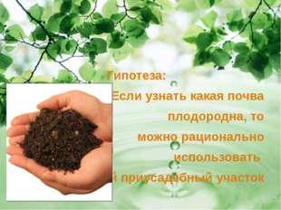 Гипотеза: Если узнать какая почва плодородна, то можно рационально использов