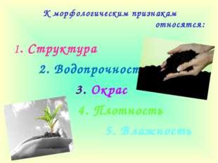 К морфологическим признакам относятся: 1. Структура 2. Водопрочность 3. Окрас