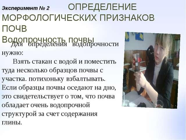 Эксперимент № 2 ОПРЕДЕЛЕНИЕ МОРФОЛОГИЧЕСКИХ ПРИЗНАКОВ ПОЧВ Водопрочность почв...
