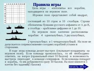 Правила игры Цель игры – «потопить» все корабли, находящиеся на игровом поле.