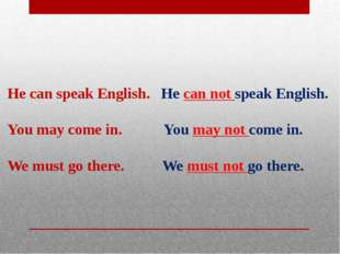 He can speak English. He can not speak English.  You may come in. You may no