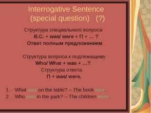 Interrogative Sentence (special question) (?) Структура специального вопроса