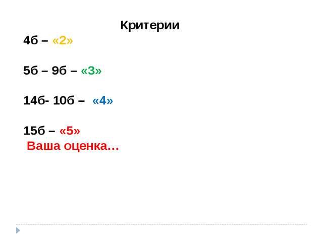 Критерии 4б – «2» 5б – 9б – «3» 14б- 10б – «4» 15б – «5» Ваша оценка…