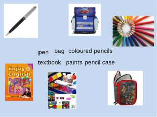 pen bag coloured pencils textbook pencil case paints