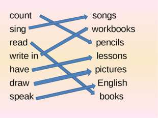 count songs sing workbooks read pencils write in lessons have pictures draw E