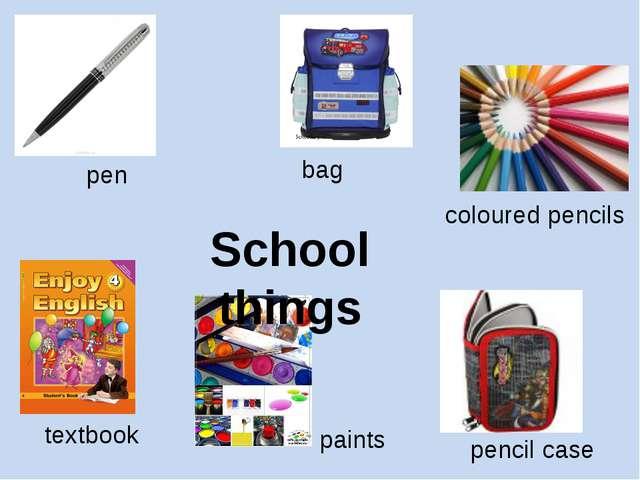 School things pen bag coloured pencils textbook pencil case paints