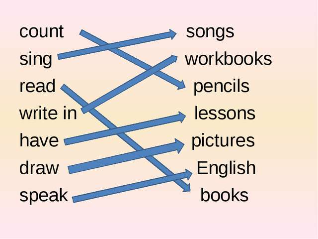 count songs sing workbooks read pencils write in lessons have pictures draw E...