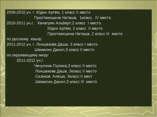 2009-2010 уч. г. Юдин Артём, 1 класс II место Простакишина Наташа, 1класс, IV