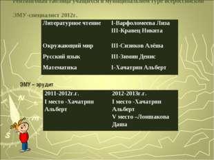 Рейтинговая таблица учащихся в муниципальном туре всероссийской ЭМУ-специалис