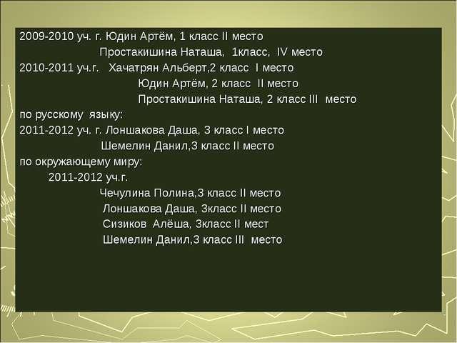 2009-2010 уч. г. Юдин Артём, 1 класс II место Простакишина Наташа, 1класс, IV...